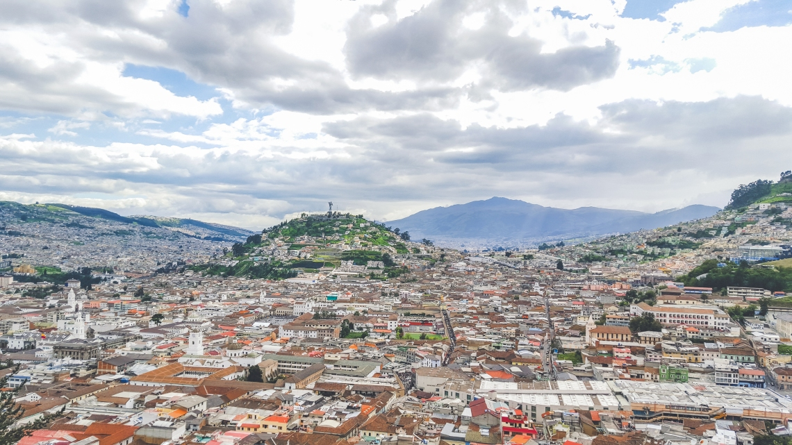 Beautiful view from the Panecillo in Quito, Ecuador